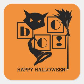 Boo! Fun Halloween Gift Square Stickers