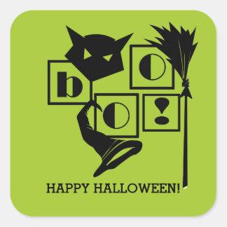 Boo! Fun Halloween Square Stickers