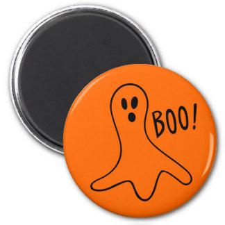 Boo Fun Spooky Cute Ghost Round Orange Magnet