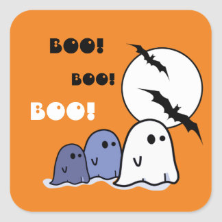 Boo! Funny Little Ghosts Halloween Stickers