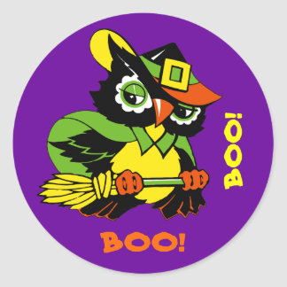 Boo! Funny Owl Halloween Stickers