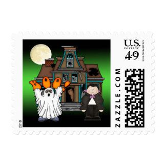 Boo Ghost Dracula Halloween Postage Stamps