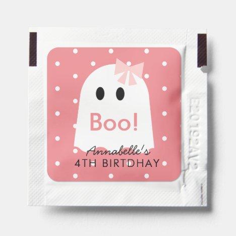 Boo Ghost Girl Pink Polka Dot Birthday Hand Sanitizer Packet