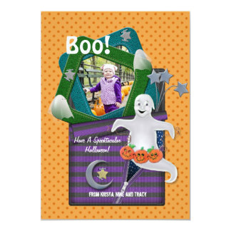 Boo Ghost Halloween Photo Greeting 5x7 Paper Invitation Card