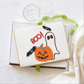 Boo Ghost Pumpkin Bats Shortbread Cookie