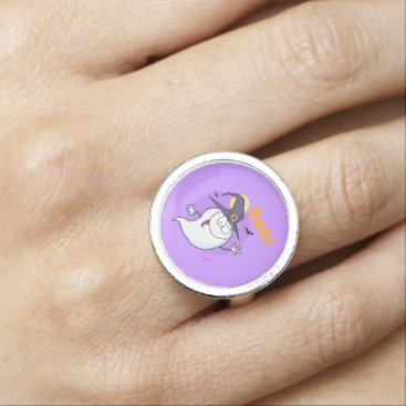 Halloween Themed Boo Ghost Silver Round Ring