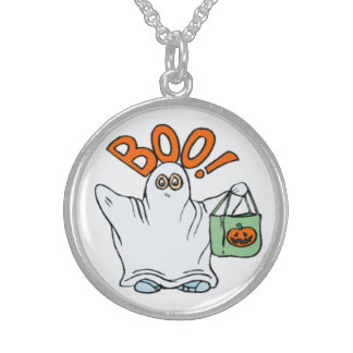 BOO ! GHOST STERLING SILVER NECKLACE