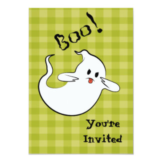 Boo Ghost with skeleton in the back. Card