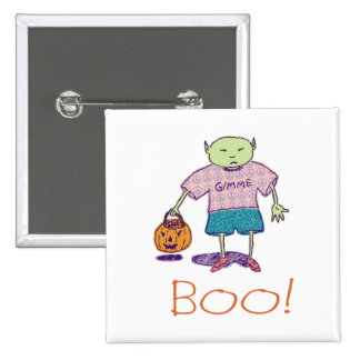 Boo! Ghoulie Square Button