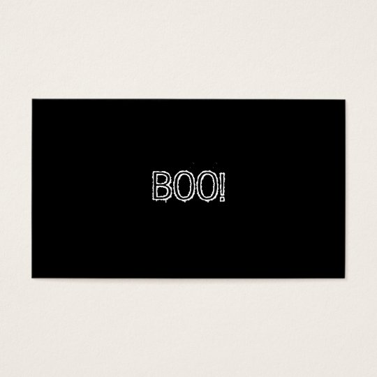 BOO! Grungy Font, black and white. Business Card