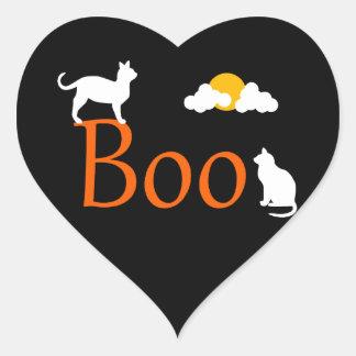 Boo! Halloween Cats and Moon Heart Sticker