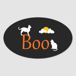 Boo! Halloween Cats and Moon Oval Sticker