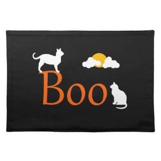 Boo! Halloween Cats and Moon Placemat