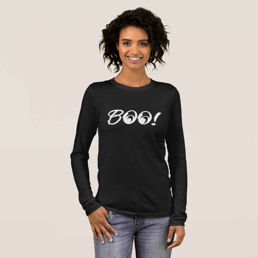 Boo Halloween   Cute & Bold Easy Funny Costume Long Sleeve T-Shirt - Best Selling Long-Sleeve Street Fashion Shirt Designs