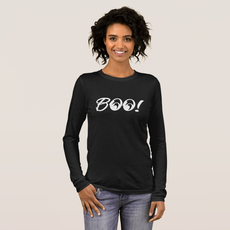 Boo Halloween   Cute & Bold Easy Funny Costume Long Sleeve T-Shirt - Best Selling Long-Sleeve Street Fashion Shirt Designs