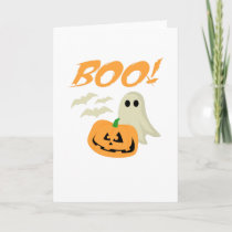Boo Halloween Ghost Bats Jack O Lantern Unisex Card