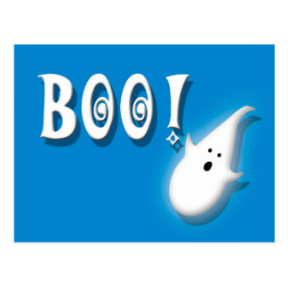 Boo! Halloween ghost blue Postcard