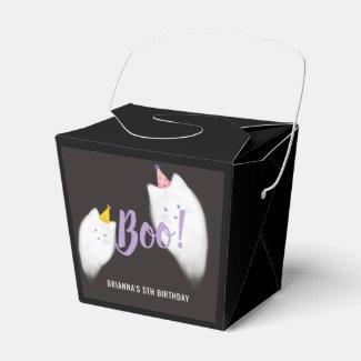 Boo! Halloween Ghost Cat Black Favor Box