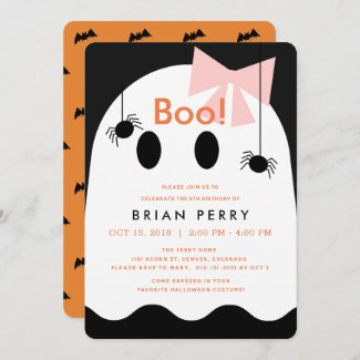 Boo! Halloween Ghost Girl Cute Birthday Invitation