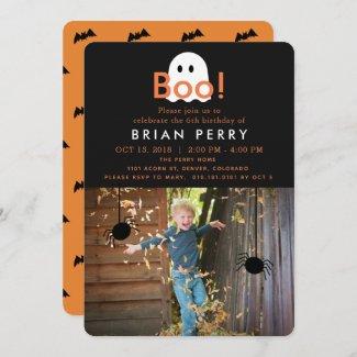 Boo! Halloween Ghost Photo Birthday Invitation