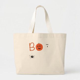 BOO Halloween ghost pumpkin spider design Large Tote Bag