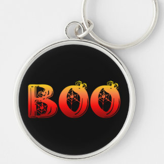 Boo Halloween Silver-Colored Round Keychain