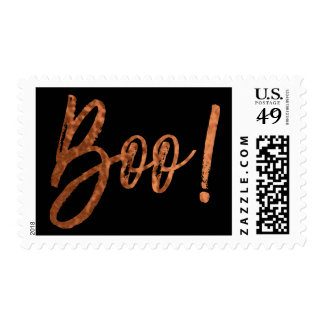 Boo! Halloween Orange and Black Modern Stamp