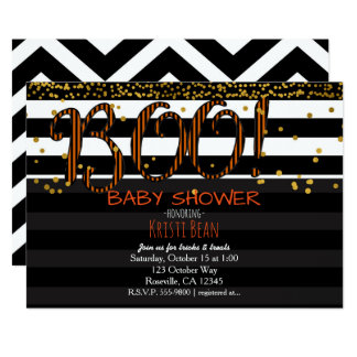 BOO! Halloween Orange & Black Stripes Invitation