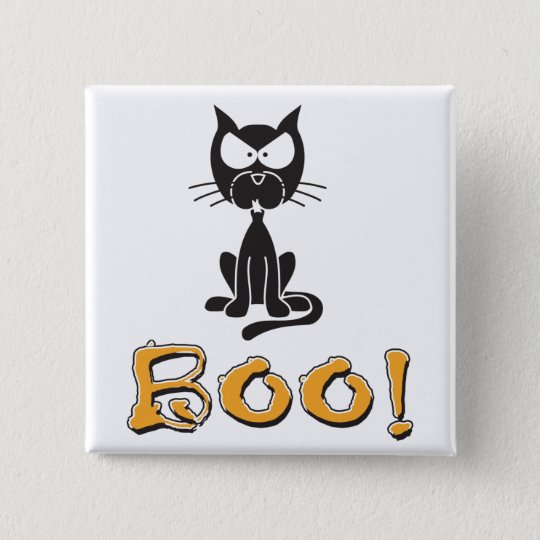Boo! Halloween Scary Cat Pinback Button