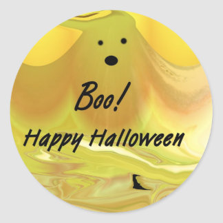 Boo! Happy Halloween Classic Round Sticker