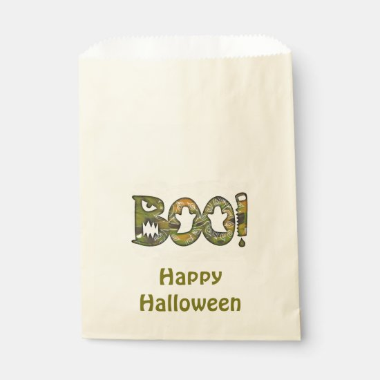 BOO & Happy Halloween custom Halloween favor bag