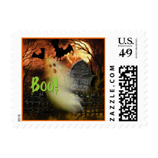 Boo! Haunted Cemetary Halloween Postage