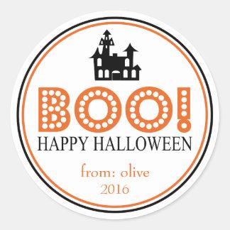 Boo! Haunted House (Black / Orange) Classic Round Sticker