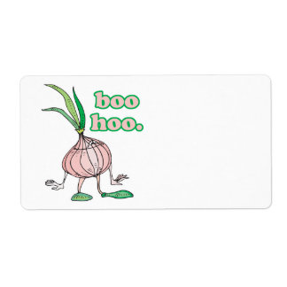 boo hoo silly onion cartoon character shipping label