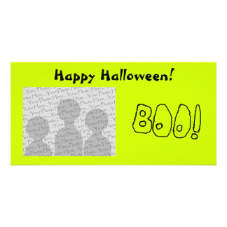 BOO In Black Outlined Shaky Letters Picture Card