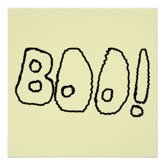 BOO! In Black Outlined Shaky Letters. Print