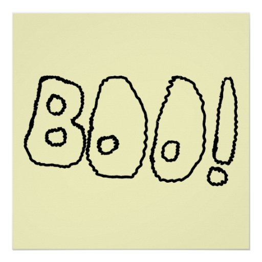 BOO! In Black Outlined Shaky Letters. Poster
