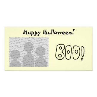 BOO In Black Rounded Jagged Letters Customized Photo Card