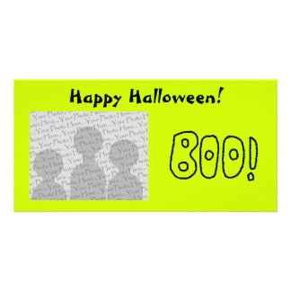 BOO In Black Rounded Jagged Letters Photo Card Template