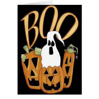 Boo Jack-o-lantern and Ghost Greeting Card