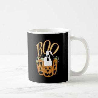 Boo Jack-o-lantern and Ghost Classic White Coffee Mug