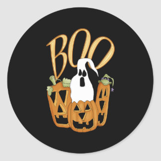Boo Jack-o-lantern and Ghost Round Stickers