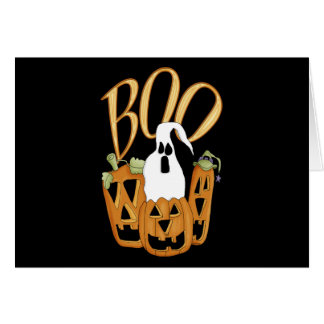 Boo Jack-o-lantern and Ghost Stationery Note Card