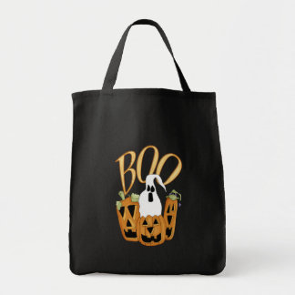 Boo Jack-o-lantern and Ghost Tote Bag