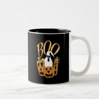 Boo Jack-o-lantern and Ghost Two-Tone Coffee Mug