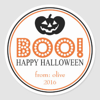Boo! Jack-O-Lantern (Black / Orange) Classic Round Sticker