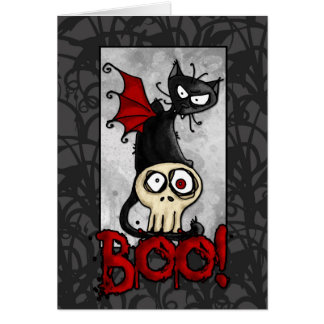 Boo kitty greeting cards