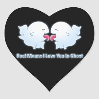 Boo Means I Love You in Ghost Heart Sticker
