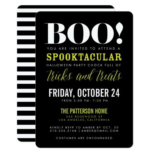 Boo Modern Halloween Party Invitation