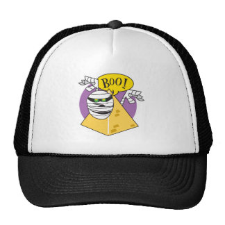 boo mummy and pyramid trucker hat